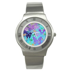 Butterfly Vector Background Stainless Steel Watch
