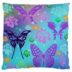 Butterfly Vector Background Large Flano Cushion Case (one Side)
