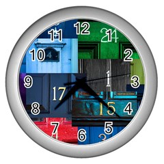 Door Number Pattern Wall Clock (silver)