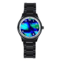 Blue Scales Pattern Background Stainless Steel Round Watch by Jojostore