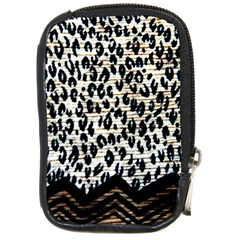 Tiger Background Fabric Animal Motifs Compact Camera Leather Case