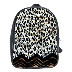 Tiger Background Fabric Animal Motifs School Bag (large)