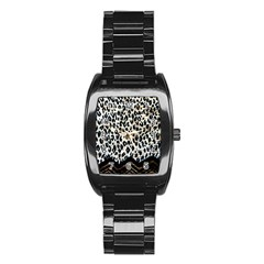 Tiger Background Fabric Animal Motifs Stainless Steel Barrel Watch