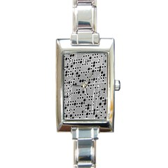 Metal Background Round Holes Rectangle Italian Charm Watch by Jojostore