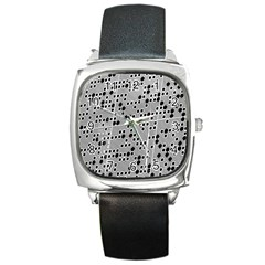 Metal Background Round Holes Square Metal Watch by Jojostore