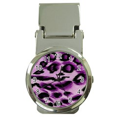 Background Fabric Animal Motifs Lilac Money Clip Watches