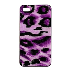 Background Fabric Animal Motifs Lilac Apple Iphone 4/4s Seamless Case (black)