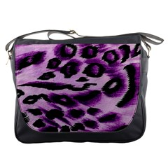 Background Fabric Animal Motifs Lilac Messenger Bag