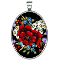 Flower Decoration Bouquet Of Flowers Oval Necklace by Sapixe