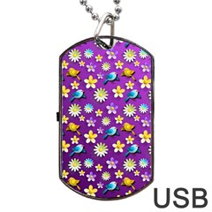 Default Floral Tissue Curtain Dog Tag Usb Flash (one Side) by Sapixe