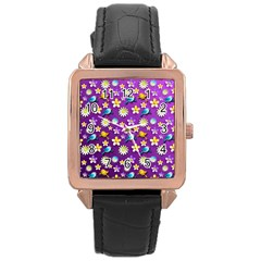 Default Floral Tissue Curtain Rose Gold Leather Watch  by Sapixe