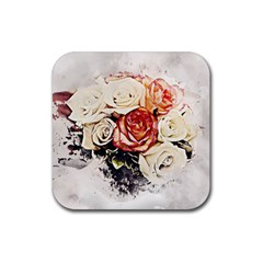 Flowers Background Wallpaper Art Rubber Square Coaster (4 Pack)  by Sapixe