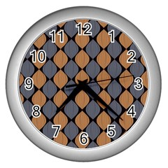 Abstract Seamless Pattern Wall Clock (silver)