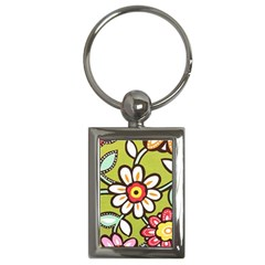 Flowers Fabrics Floral Design Key Chains (rectangle)  by Sapixe