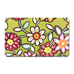 Flowers Fabrics Floral Design Magnet (rectangular) by Sapixe