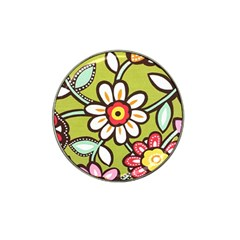 Flowers Fabrics Floral Design Hat Clip Ball Marker