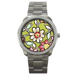 Flowers Fabrics Floral Design Sport Metal Watch