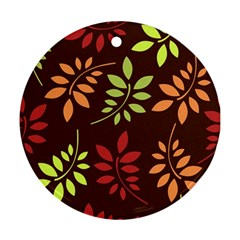 Leaves Foliage Pattern Design Ornament (round)
