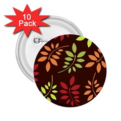 Leaves Foliage Pattern Design 2 25  Buttons (10 Pack)