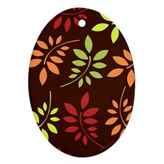 Leaves Foliage Pattern Design Oval Ornament (two Sides) by Sapixe