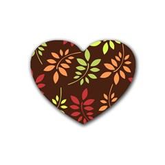 Leaves Foliage Pattern Design Heart Coaster (4 Pack)  by Sapixe