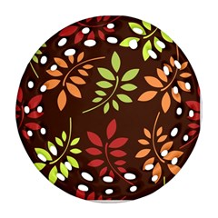 Leaves Foliage Pattern Design Ornament (round Filigree) by Sapixe