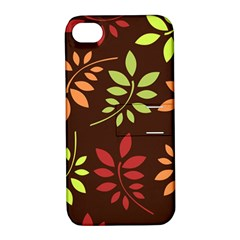 Leaves Foliage Pattern Design Apple Iphone 4/4s Hardshell Case With Stand by Sapixe
