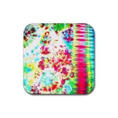 Pattern Decorated Schoolbus Tie Dye Rubber Square Coaster (4 Pack)  by Jojostore