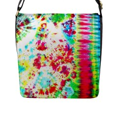 Pattern Decorated Schoolbus Tie Dye Flap Closure Messenger Bag (l)