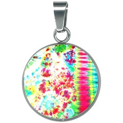 Pattern Decorated Schoolbus Tie Dye 20mm Round Necklace