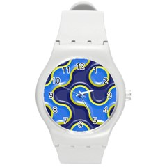 Pattern Curve Design Seamless Round Plastic Sport Watch (m) by Sapixe