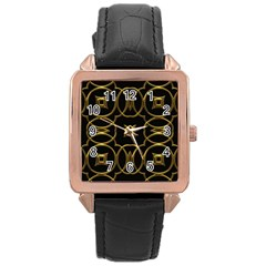 Seamless Pattern Abstract Rose Gold Leather Watch