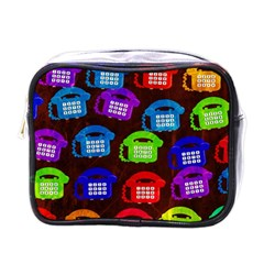 Grunge Telephone Background Pattern Mini Toiletries Bag (one Side)