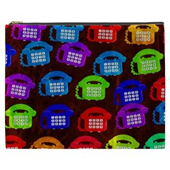 Grunge Telephone Background Pattern Cosmetic Bag (xxxl)