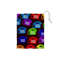 Grunge Telephone Background Pattern Drawstring Pouch (small)