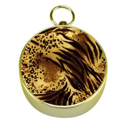 Pattern Tiger Stripes Print Animal Gold Compasses