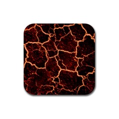 Lava Cracked Background Fire Rubber Coaster (square)