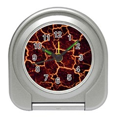 Lava Cracked Background Fire Travel Alarm Clock