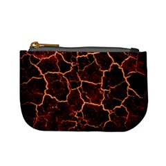 Lava Cracked Background Fire Mini Coin Purse