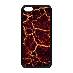 Lava Cracked Background Fire Apple Iphone 5c Seamless Case (black) by Sapixe