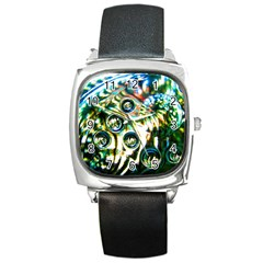 Dark Abstract Bubbles Square Metal Watch by Jojostore