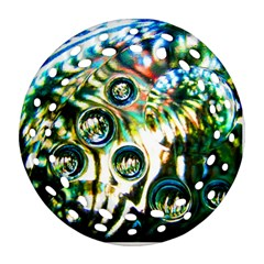Dark Abstract Bubbles Round Filigree Ornament (two Sides) by Jojostore