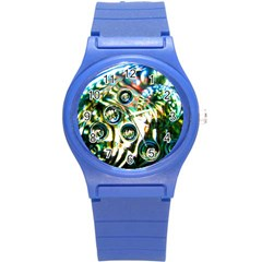 Dark Abstract Bubbles Round Plastic Sport Watch (s) by Jojostore