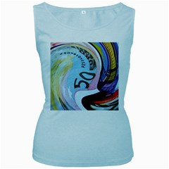 Abstract Currency Background Women s Baby Blue Tank Top