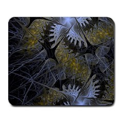 Fractal Wallpaper With Blue Flowers Large Mousepads by Jojostore