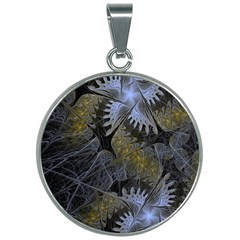 Fractal Wallpaper With Blue Flowers 30mm Round Necklace