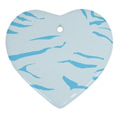 Blue Tiger Animal Pattern Digital Heart Ornament (two Sides)