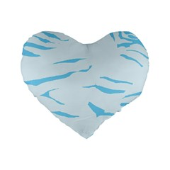 Blue Tiger Animal Pattern Digital Standard 16  Premium Flano Heart Shape Cushions