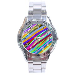 Multi Color Tangled Ribbons Background Wallpaper Stainless Steel Analogue Watch