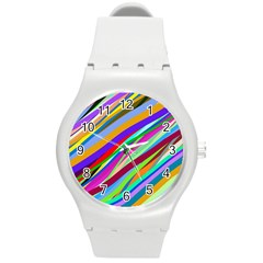 Multi Color Tangled Ribbons Background Wallpaper Round Plastic Sport Watch (m) by Jojostore